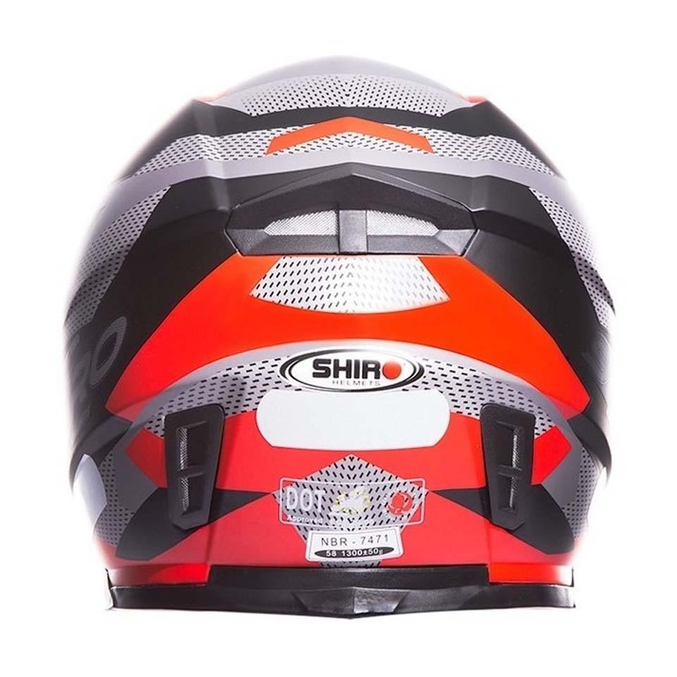 Capacete Shiro SH881 BRNO Preto Fosco/Vermelho