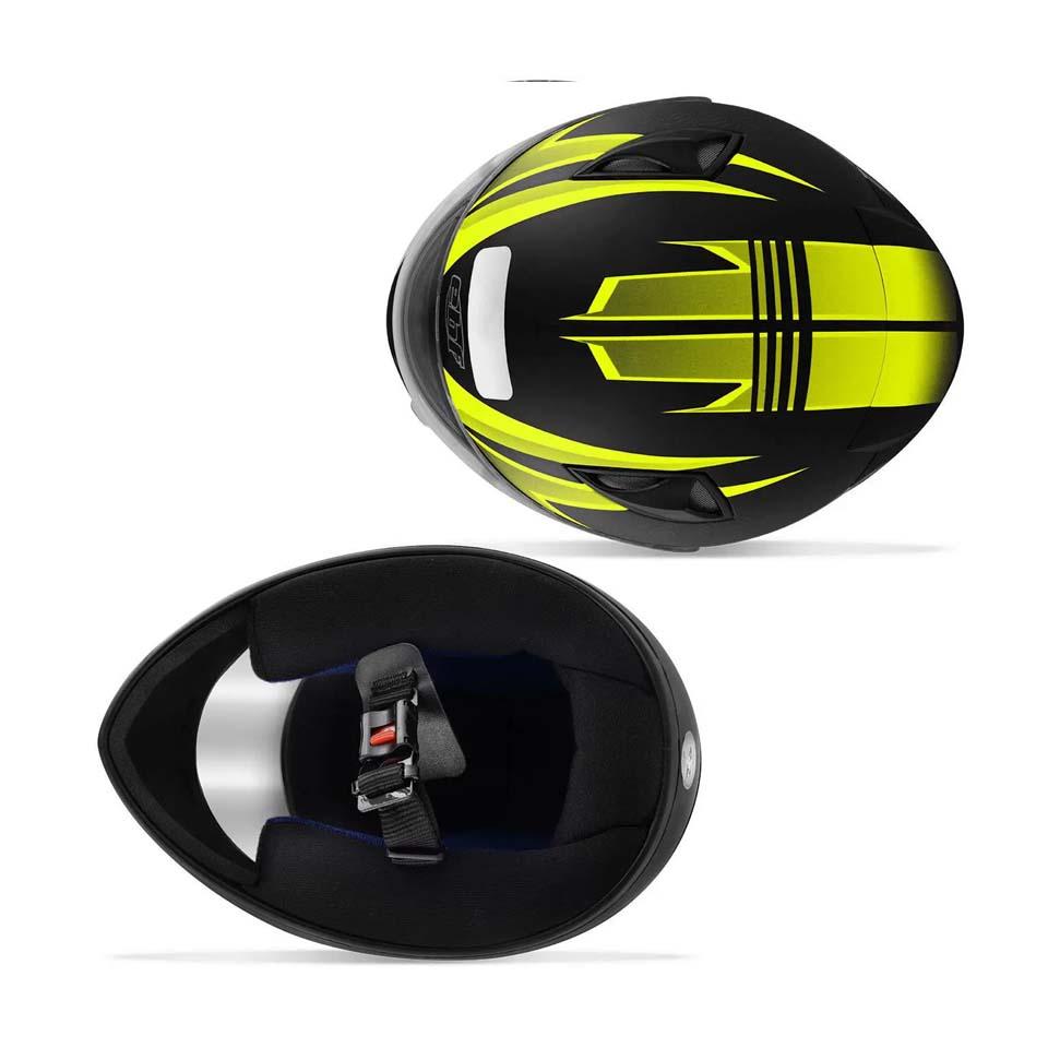 Capacete EBF New Spark Ilusion Preto Fosco/Amarelo