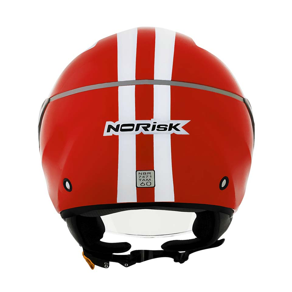 Capacete Norisk Jet Linea White Red