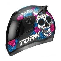 Capacete Tork Evolution G7 Mexican Skull Fosco Preto