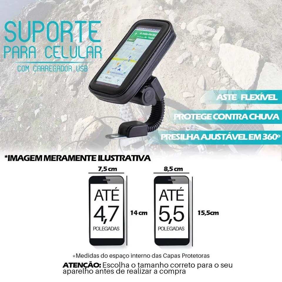 Suporte GPS Celular Retrovisor Com Carregador Fechado
