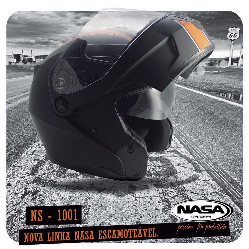 Capacete Nasa NS 1001 Custom Preto Laranja