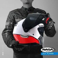 Capacete-Nasa-NS-1001-Route-Branco-Vermelho