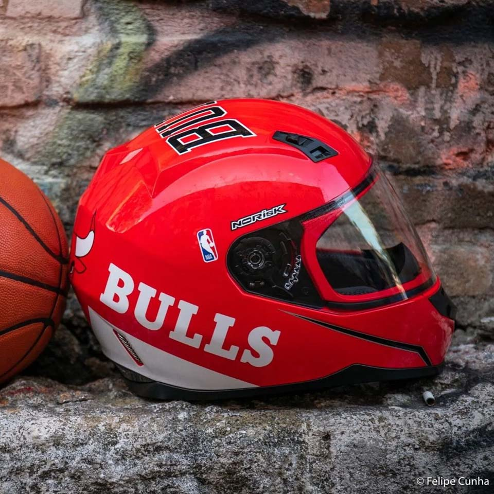 Capacete Norisk Ff391 Chicago Bulls Vermelho