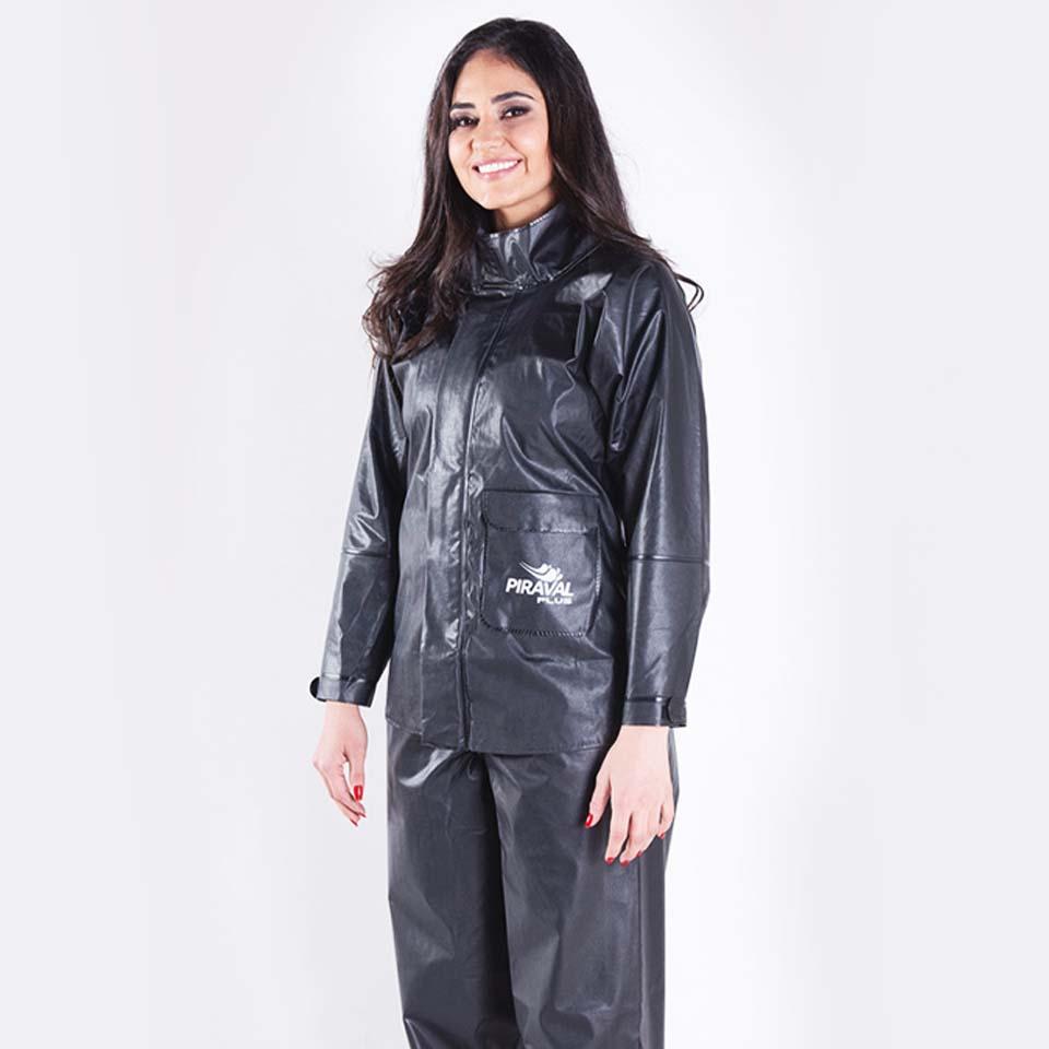 Conjunto Chuva Piraval Plus PVC Preta Feminina