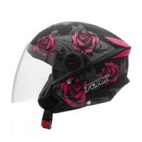 Capacete-Pro-Tork-New-Liberty-Three-Flowers-Preto-Rosa