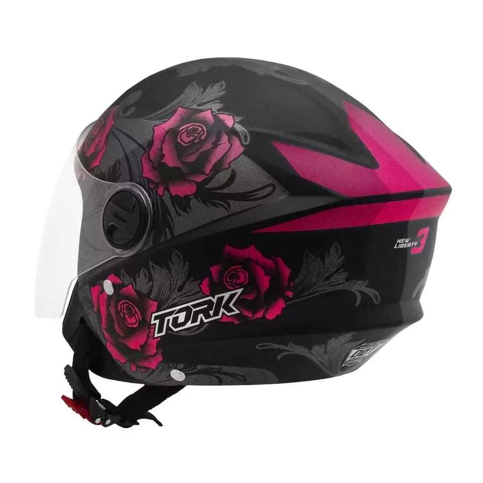 Capacete Pro Tork New Liberty Three Flowers Preto Rosa
