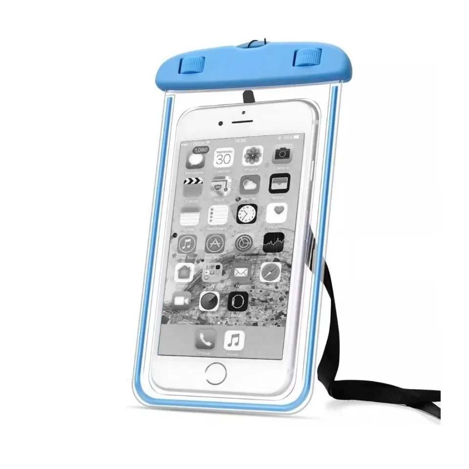 Capinha Bag Aquática Para Celular Prova D'água Universal Azul