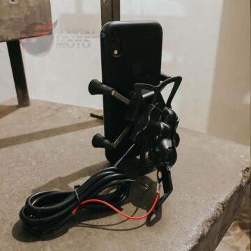 Suporte GPS Celular Retrovisor Aberto Com Carregador