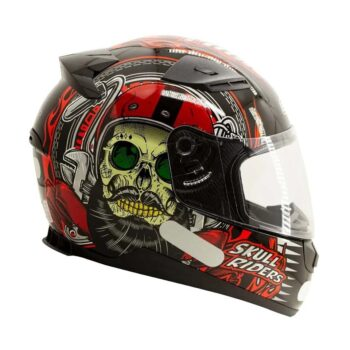 Capacete EBF E0X Skull Preto Vermelho