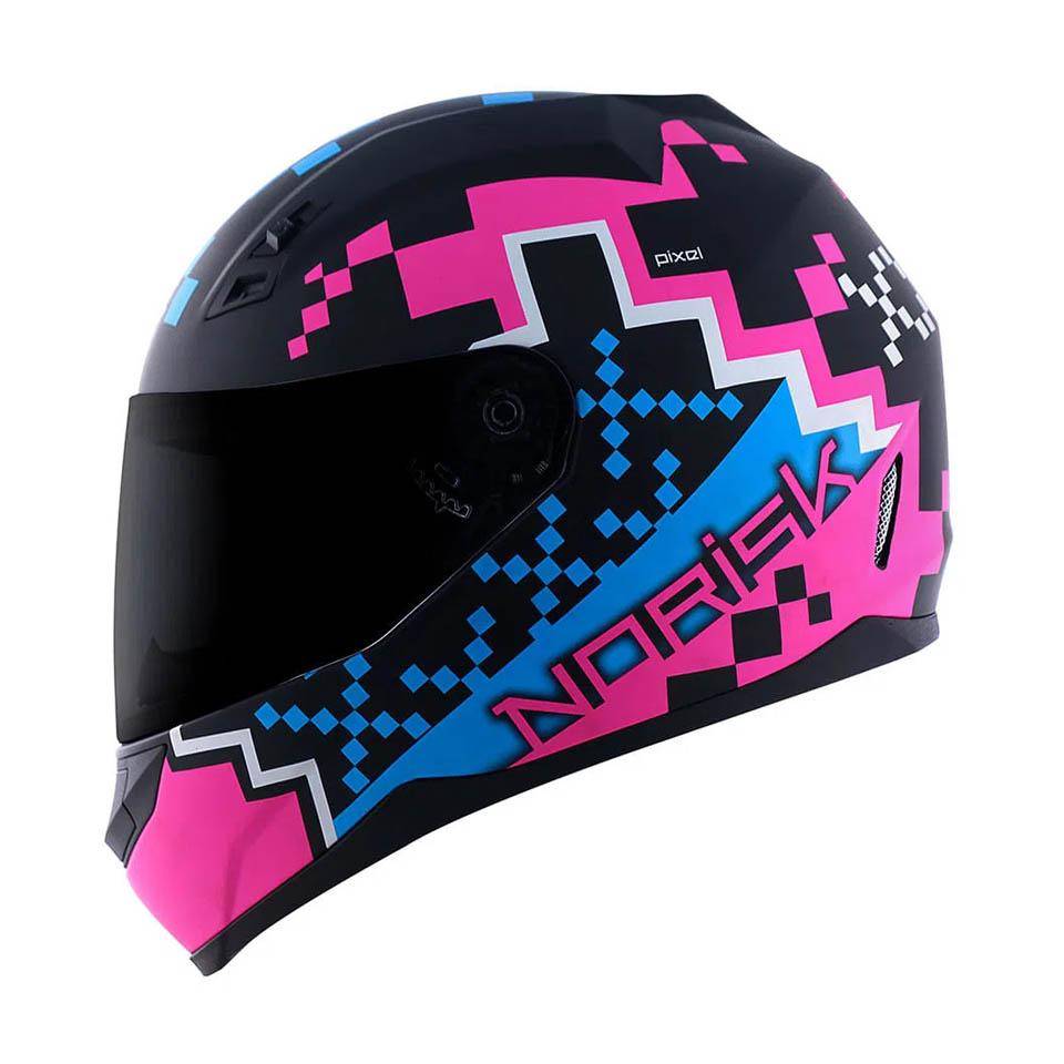 Capacete Norisk FF391 Pixel Matt Black Blue Pink