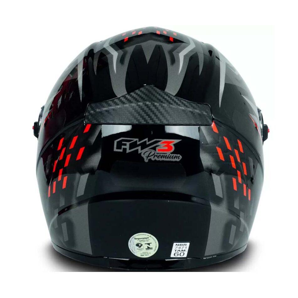 Capacete FW3 GT5 Preto Vermelho