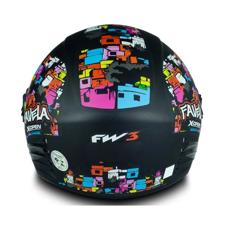 Capacete FW3 X Open Favela Preto Fosco