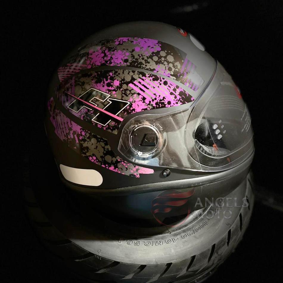 Capacete Taurus Fórmula 1 Brake Preto Fosco Rosa