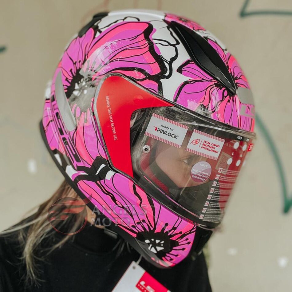 Capacete LS2 FF353 Rapid Poppies White Pink