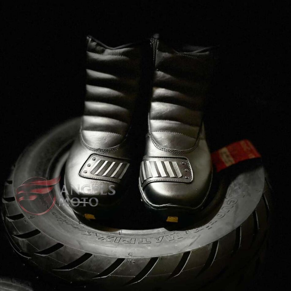 Bota Motocicle 800C Zíper Com Protetor Couro Preta