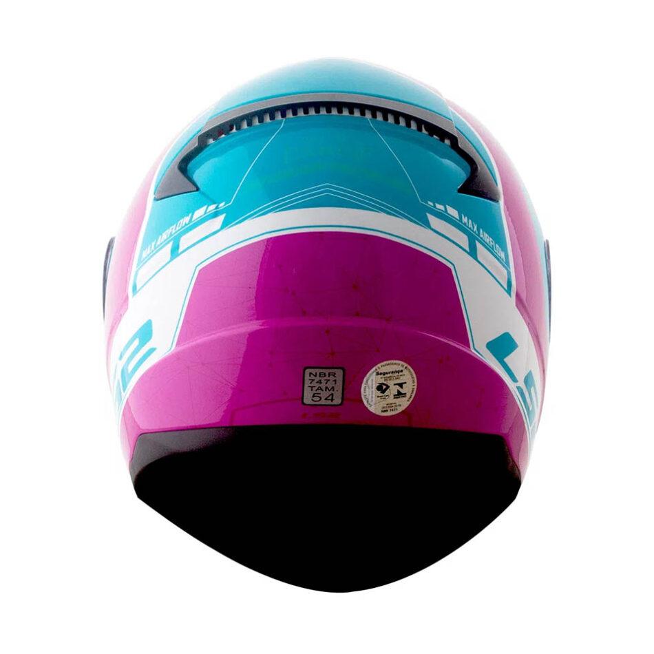 Capacete LS2 FF353 Rapid Candie White Pink Floyd Light Blue