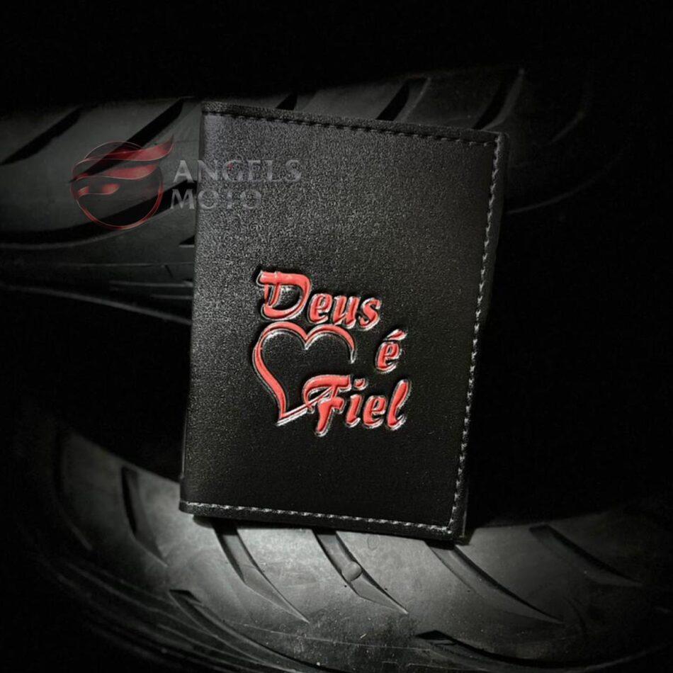 Carteira Porta Documento Motociclista Deus é Fiel
