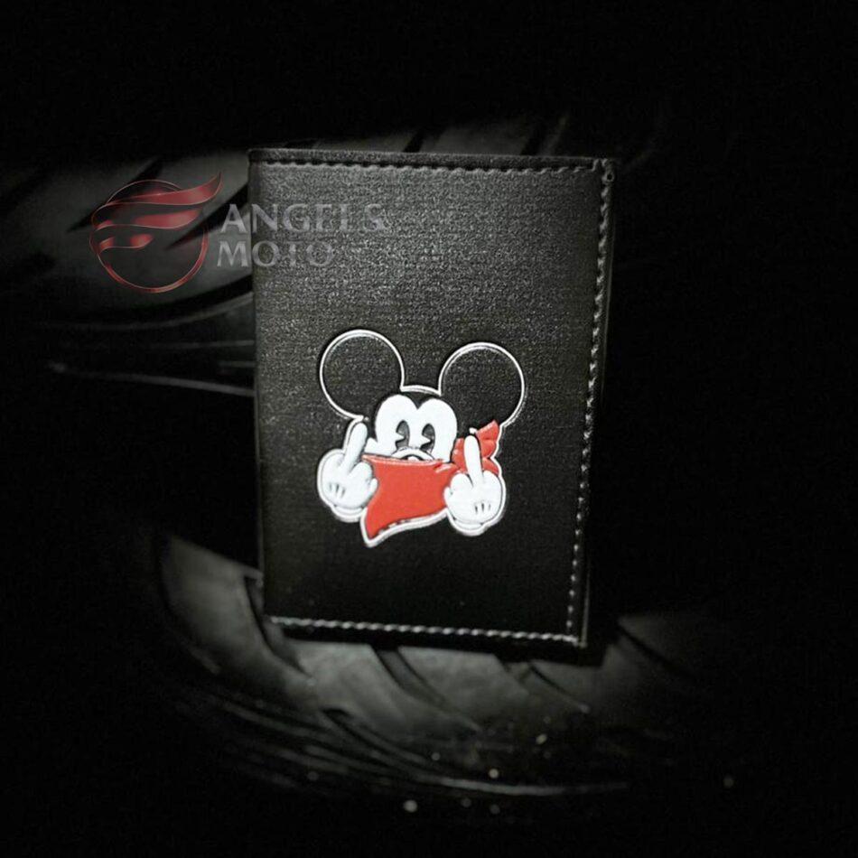 Carteira Porta Documento Motociclista Mickey Lenço Vermelho