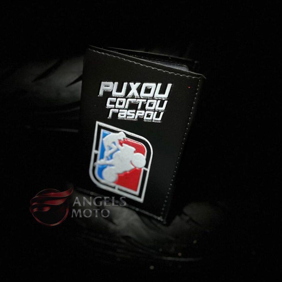 Carteira Porta Documento Motociclista Puxou Cortou Raspou