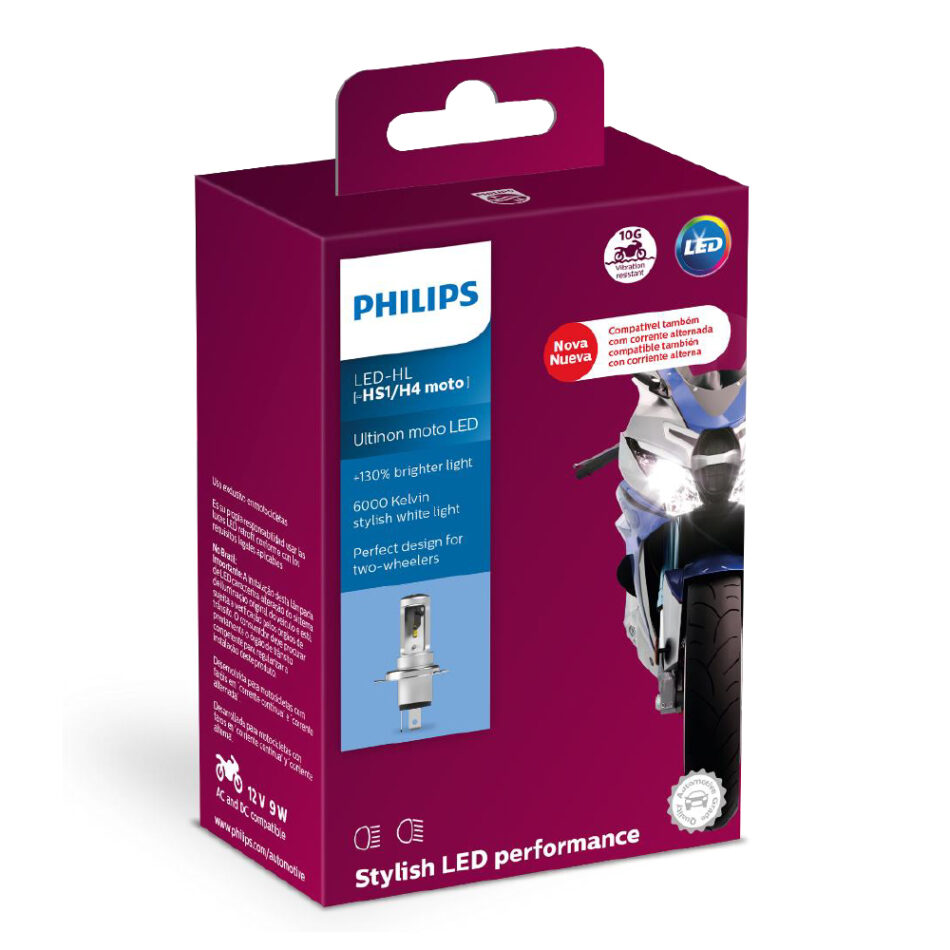 Lampada Farol Philips H4 Led Ultinon Moto 11458umwx1 - Luz Super Branca 6000k C/ 130% + Mais Visibilidade - Design Compa