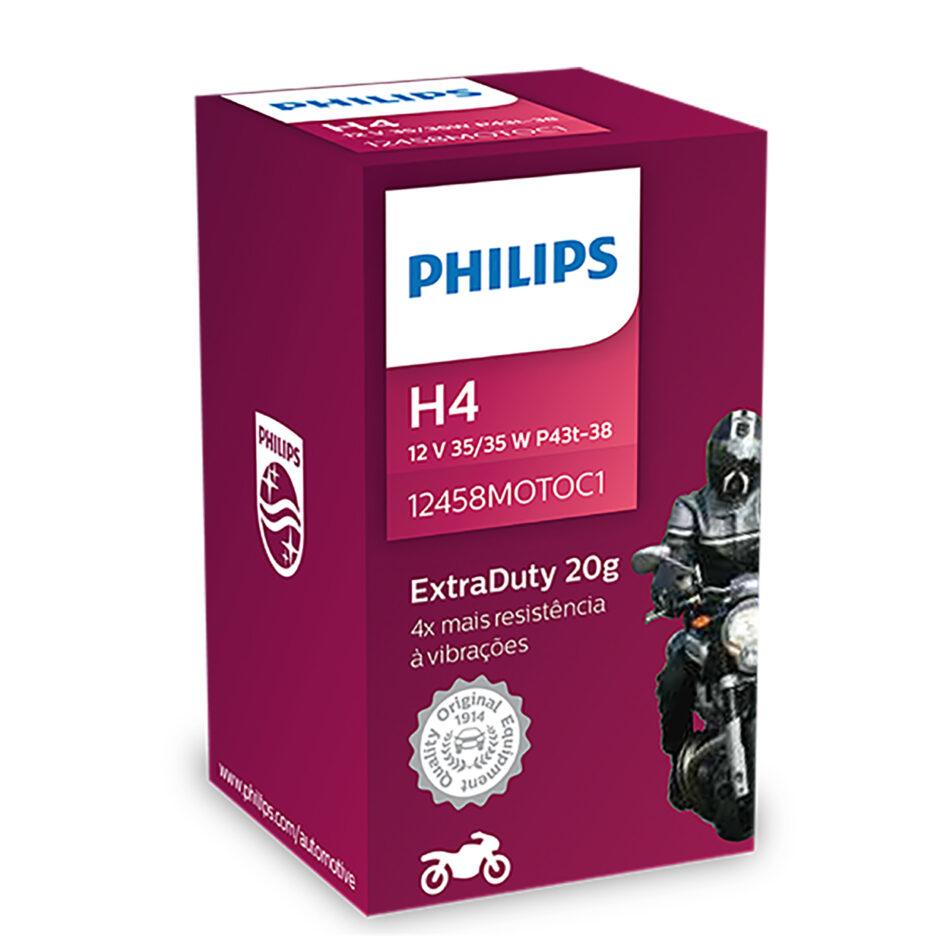 Lampada Farol Philips H4 12v 35/35w Extra Duty (h4-12458moto-cn) Cg 125 /08 - Cg 150 - Cbx 250 Twister 01 A 08 - Ybr 125
