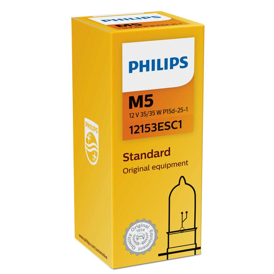 Lampada Farol Philips M5 12v 35/35w Standard P15d-25-1 (m5-12153es-ci) Biz 100 C 100 Dream - Bros150 - Pop 100