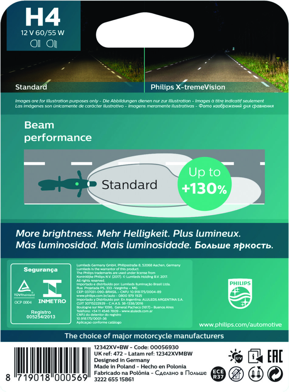 Lampada Farol Philips H4 12v 60/55w X-tremevision (12342xvbw) Cb300r - Nx 400 Falcon - Nc700 - Cb500 - Shadow - Xre300