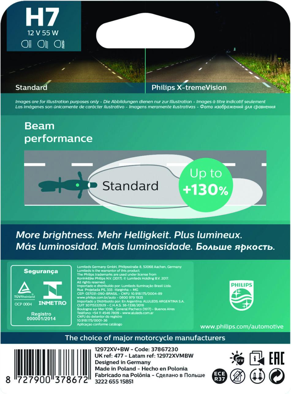 Lampada Farol Philips H7 12v 55w X-tremevision (12972xvbw) Xtz Tenere 250 - Cbr 600rr/1000 - Gl1800 - Vtx1800 - Cb 600