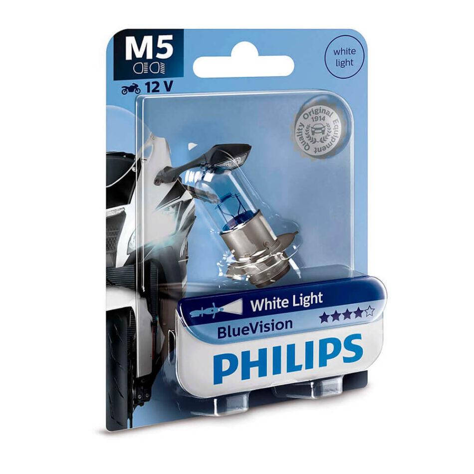Lampada Farol Philips M5 12v 35/35w Blue Vision P15d-25-1 (m5-12153bvm-bi) Biz 100 C100 Dream - Bros150 - Pop 100