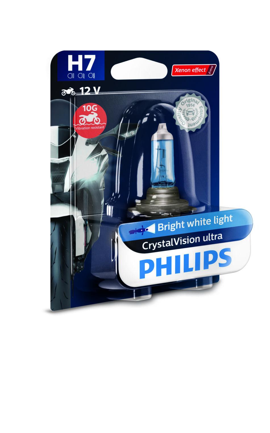 Lampada Farol Philips H7 12v 55w Cristal Vision Moto (12972cvmbw) Xtz Tenere 250 - Cbr 600rr/1000 - Gl1800 - Vtx1800 -