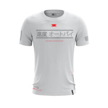 Camiseta Texx Branca Okinawa Vermelha