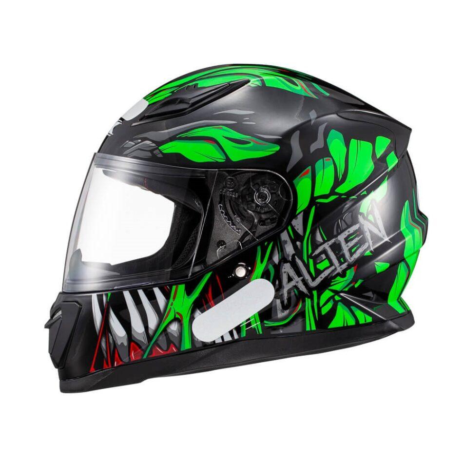 Capacete Texx Hawk Alien Verde Preto