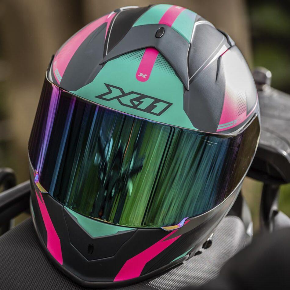 Capacete X11Revo Pro Flagger SV Rosa + Viseira Extra