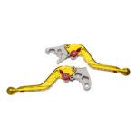 Manete Moto X Super Bike Par C/ Regulagens 3/4dedos Escamoteavel - Dobravel Dourado Hon-hornet 600 08> / Cbr600f 2011-20
