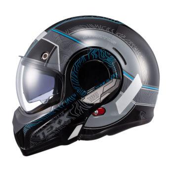 Capacete Texx Stratos 180 Topographic Preto E Azul