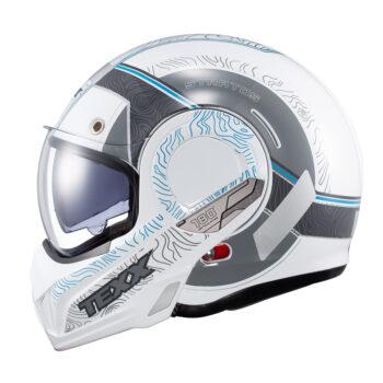 Capacete Texx Stratos 180 Topographic Branco E Azul